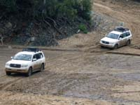 Cars crossing river in Omo valley / DF